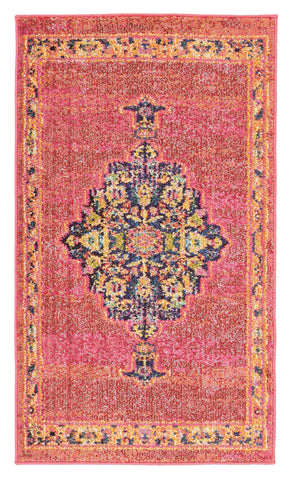 "Passionate 2'2"" x 3'9"" Pink/Flame Area Rug"