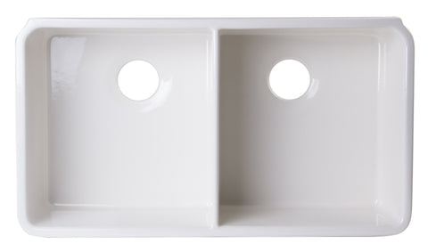 32 inch Biscuit Double Bowl Fireclay Undermount Kitchen Sink