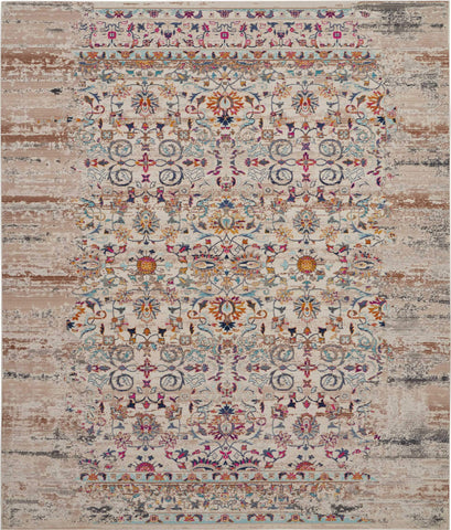 Vintage Kashan Ivory Multicolor Boho Area Rug - 9 Size and Shape Options