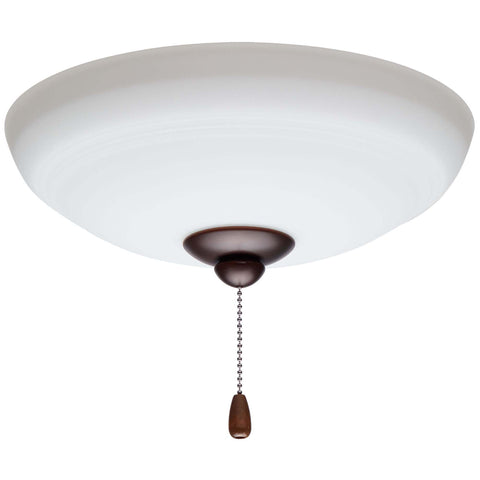 kathy ireland HOME by Luminance Brands Ashland Opal Matte Ceiling Fan Light Kit | Glass Shade Attachment with Finial, Pull Chain, and 3 LED Bulbs, Venetian Bronze