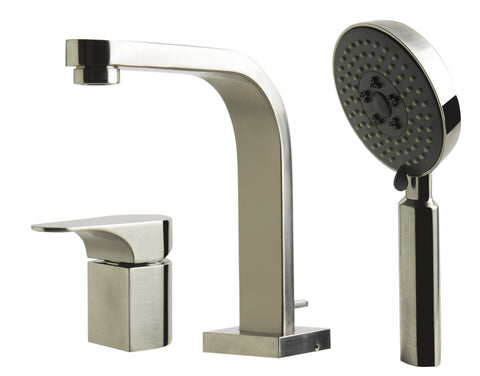 Brushed Nickel Deck Mounted Tub Filler and Round Hand Held Shower Head Faucets Alfi