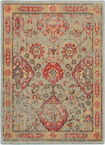 Somerset Light Green Oriental Area Rug - 7 Size and Shape Options Rugs Nourison 2' x 2'9""