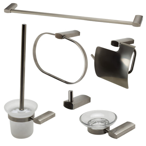 Brushed Nickel 6 Piece Matching Bathroom Accessory Set Accessories Alfi