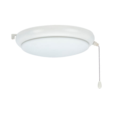 kathy ireland HOME by Luminance Brands Luna LED Light Kit for Ceiling Fans | Low Profile Lighting Attachment with White Opal Glass Shade and Pull Chain | Wet Rated, Satin White