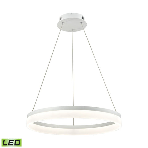 Elk Lighting Cycloid 1 Light LED Pendant In Matte White With Acrylic Diffuser - Medium