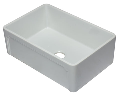 30 inch White Reversible Single Fireclay Farmhouse Kitchen Sink