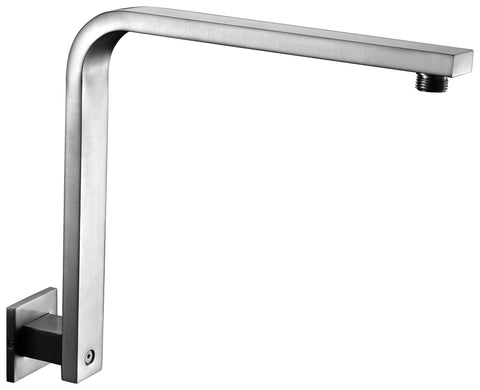 "Brushed Nickel 12"" Square Raised Wall Mounted Shower Arm"
