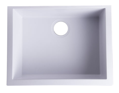 "White 24"" Undermount Single Bowl Granite Composite Kitchen Sink"