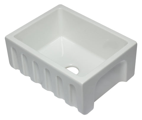 24 inch White Reversible Smooth / Fluted Single Bowl Fireclay Farm Sink Sink Alfi