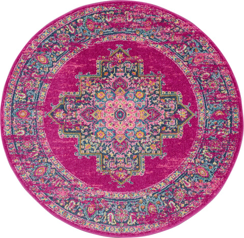 Passion 8' Round Pink Boho Area Rug