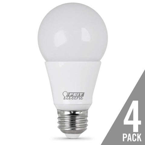 Feit Electric A19 60 Watt Equiv., Dimmable, LED, Omni, 800 Lumen, 5000K, 4 Pk