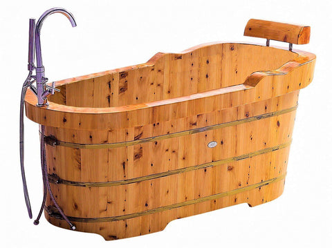 "61"" Free Standing Cedar Wooden Bathtub  with Fixtures & Headrest"