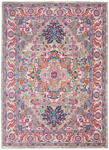 "Passion 5'3"" X 7'3"" Light Grey/Pink Area Rug"