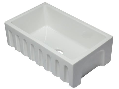 30 inch White Reversible Smooth / Fluted Single Bowl Fireclay Farm Sink Sink Alfi