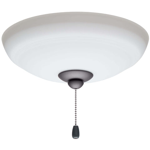 kathy ireland HOME by Luminance Brands Ashland Opal Matte Ceiling Fan Light Kit | Glass Shade Attachment with Finial, Pull Chain, and 3 LED Bulbs, Graphite