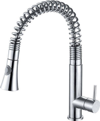 Solid Stainless Steel Commercial Spring Kitchen Faucet with Pull Down Shower Spray