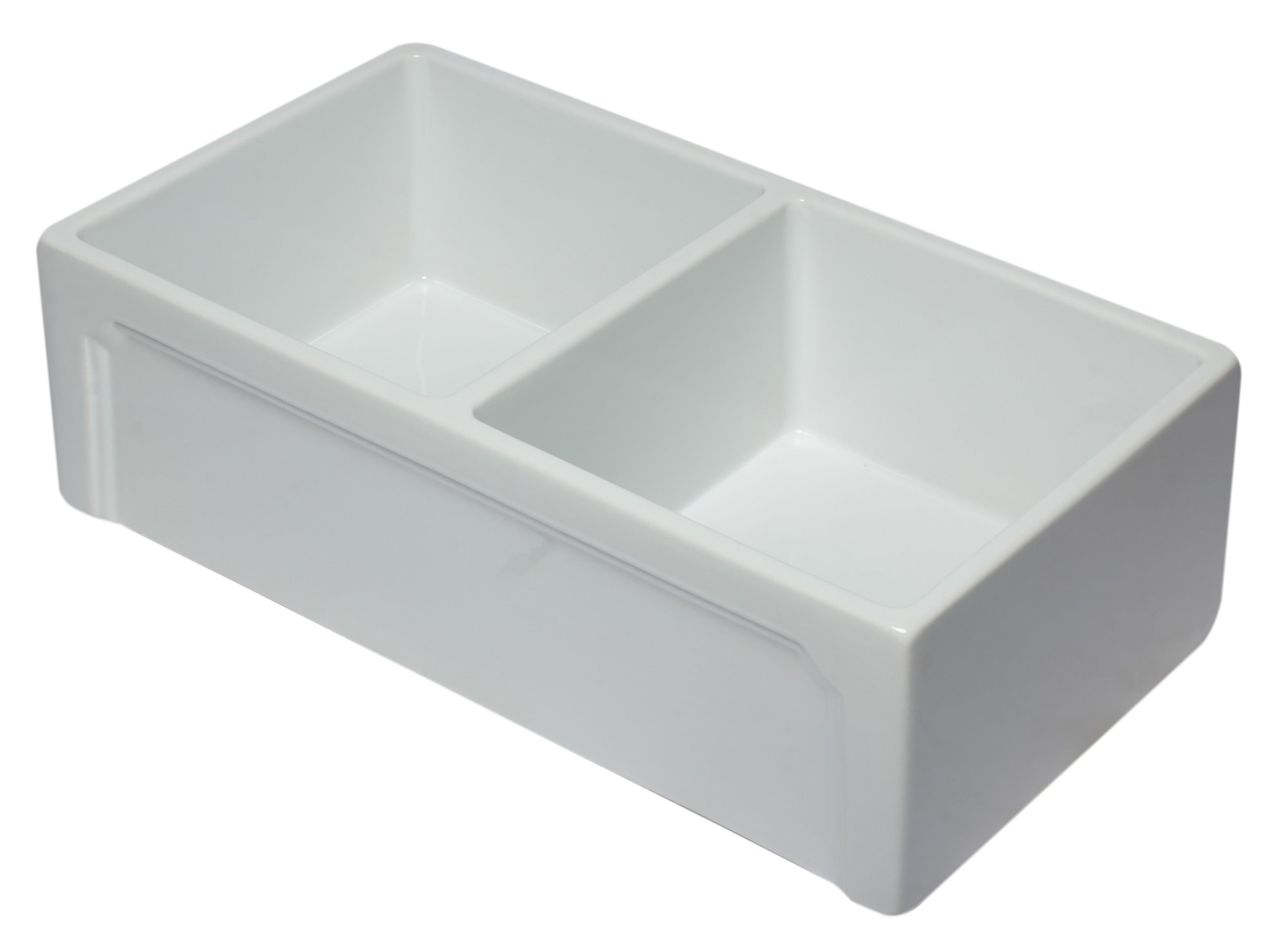 33 inch White Reversible Double Fireclay Farmhouse Kitchen Sink