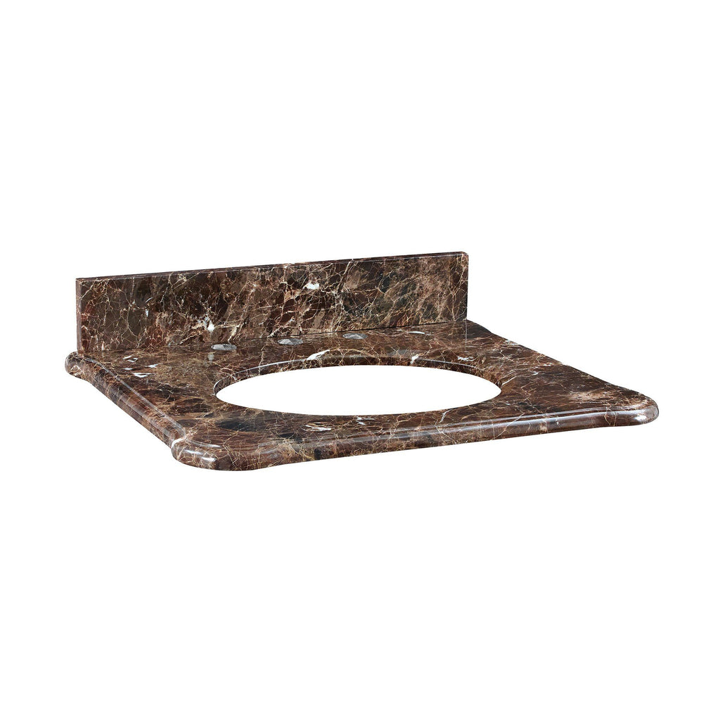Malago 25-inch Stone Top - Dark Emperador Marble for Oval Undermount Sink Furniture Ryvyr