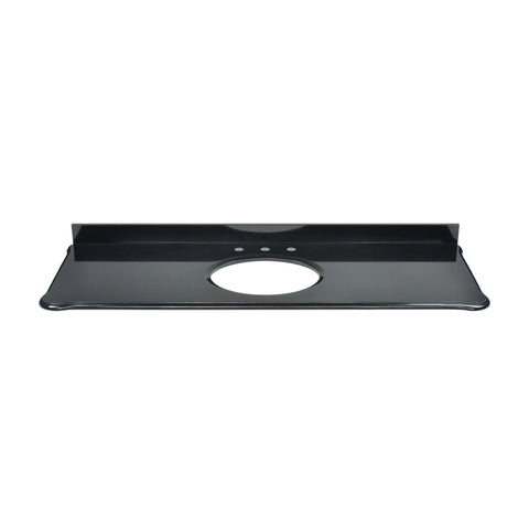 Custom-cut Malago undermount vanity top in Black Granite. Includes backsplash