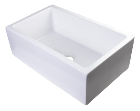 "30"" White Smooth Apron Solid Thick Wall Fireclay Single Bowl Farm Sink Sink Alfi"