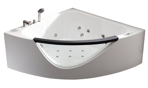 5ft Clear Rounded Corner Acrylic Whirlpool Bathtub for Two