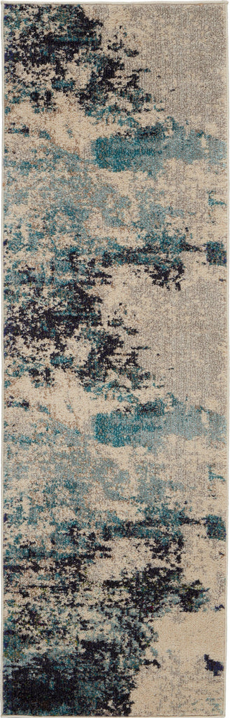 Celestial Blue and White Beach Area Rug - 5 Size and Shape Options