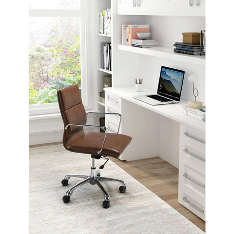 Ithaca Office Chair Vintage Brown Furniture Zuo
