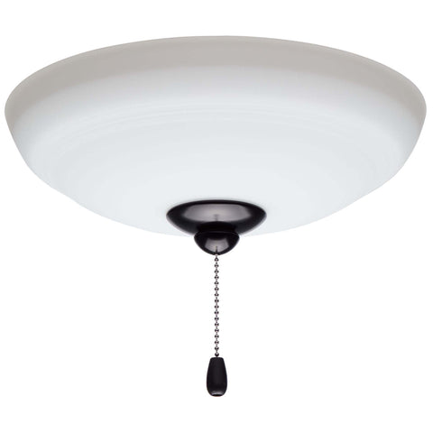 kathy ireland HOME by Luminance Brands Ashland Opal Matte Ceiling Fan Light Kit | Glass Shade Attachment with Finial, Pull Chain, and 3 LED Bulbs, Barbeque Black