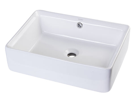 "20"" Rectangular Ceramic Above Mount Basin Vessel Sink Sink Alfi"