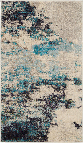 "Celestial Blue and White Beach Area Rug - 6 Size and Shape Options Rugs Nourison 2'2"" x 3'9"""