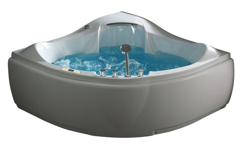 5 ft Corner Acrylic White Waterfall Whirlpool Bathtub for Two