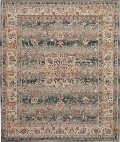 "Vintage Kashan Grey Multicolor Oushak Area Rug - 9 Size and Shape Options Rugs Nourison 7'10"" x 9'10"""