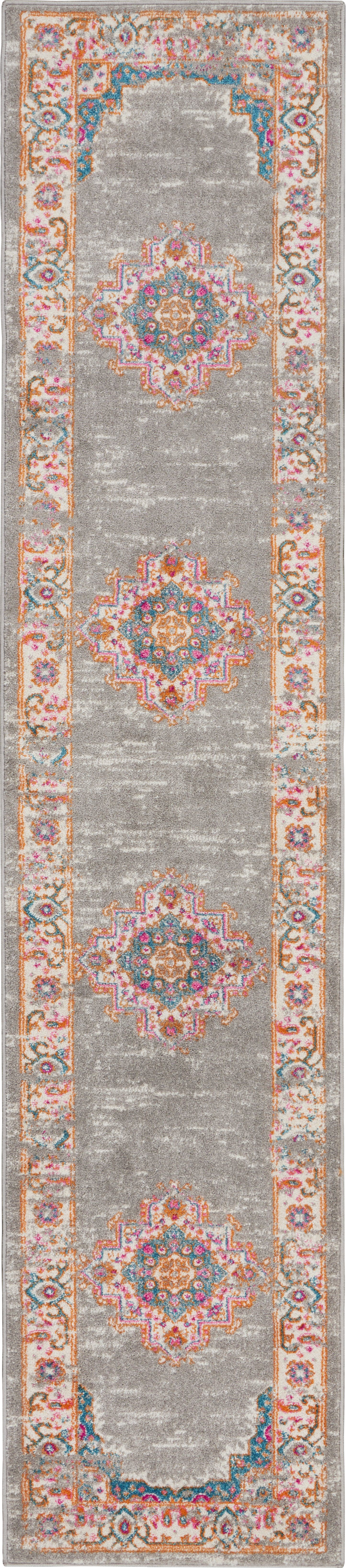 "Passion 10' Runner Grey Vintage Area Rug Rugs Nourison 2'2"" x 10'"