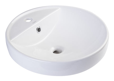 "18"" Round Ceramic Above Mount Bathroom Basin Vessel Sink Sink Alfi"