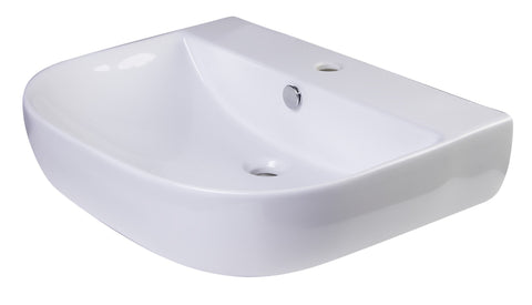 "24"" White D-Bowl Porcelain Wall Mounted Bath Sink Sink Alfi"
