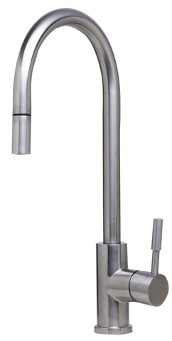 Solid Brushed Stainless Steel Single Hole Pull Down Kitchen Faucet