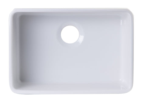 24 inch White Single Bowl Fireclay Undermount Kitchen Sink