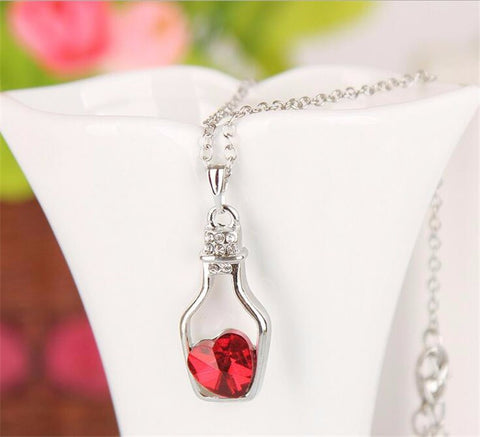 ED17 Silver Wishing Bottle Red Crystal Charm Necklace