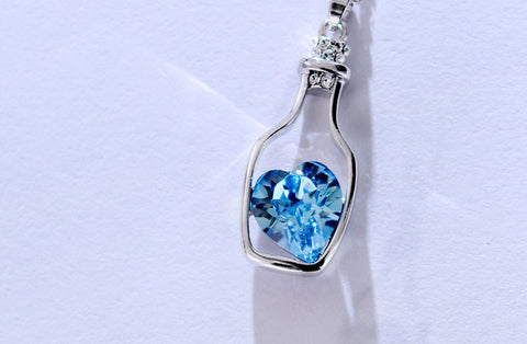 ED17 Silver Wishing Bottle Blue Crystal Charm Necklace