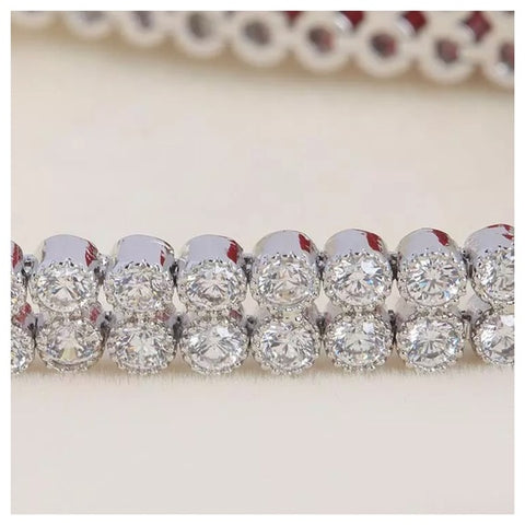 The Ganya Silver 2 Row Tennis Bracelet Made With Swarovski Crystals