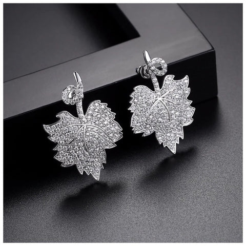 Swarovski Crystals The Jasleen Silver Pave Leaf Earrings