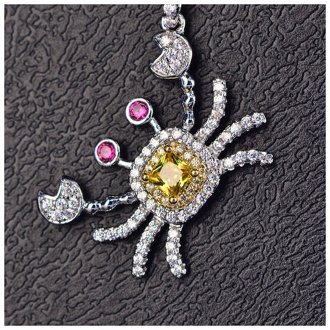 The Elassa Colorful Crab Necklace With Swarovski Crystals S27