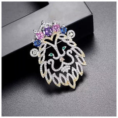 The Aria Lion Brooch With Swarovski Crystals S25