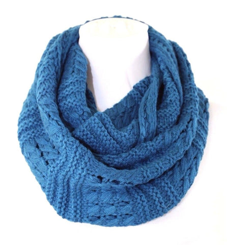 B159 Eternity Soft Mixed Knit Turquoise Blue Woven Knit Infinity Scarf Boutique
