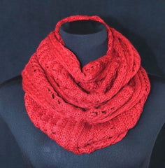 B159 Eternity Soft Mixed Knit Burgundy Red Woven Knit Infinity Scarf