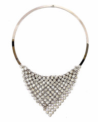 D36 Austrian Crystal Silver Draping Triangle Collar Statement Necklace Set