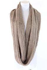B159 Eternity Soft Mixed Knit Beige Woven Knit Infinity Scarf