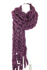 Handmade Aubergine Heavy Chunky Sweater Yarn Super Soft Cable Knit Scarf