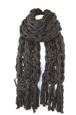 Handmade Black Heavy Chunky Sweater Yarn Super Soft Cable Knit Long Scarf