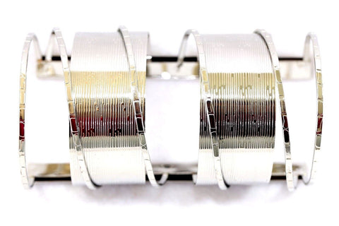 D13 Extra Wide Silver Textured Metal Wire Adjustable Cuff Bracelet Boutique